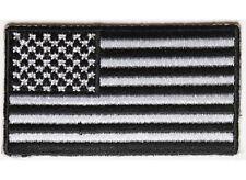 "(G2) 2.5"" x 1.4"" Small BLACK & WHITE US FLAG iron on patch (4944) Biker Vest Cap"