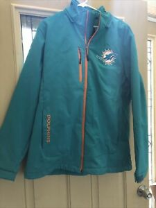 NFL Embroidered Team Logo Apparel MIAMI DOLPHINS Jacket  G-III Hoodie Sz L Used