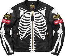 NWT Supreme 2017 New Vanson Black Leather Skeleton Bones Motorcycle Jacket Large