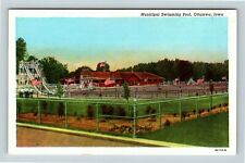 Ottumwa IA, Municipal Swimming Pool, Linen Iowa Postcard