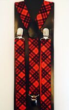 NEW RED TARTAN BRACES - BURNS NIGHT GEEK PARTY DANCE FUN