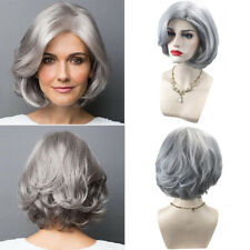 Elegant Short Silver Grey Curly Hair Synthetic Full Wig Cosplay Hair Wigs Dp