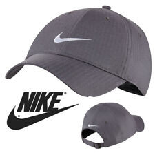 NEW Nike SWOOSH BASEBALL CAP PLAIN GREY GOLF LEGACY 91 TECH GYM FITTED PEAK HAT