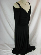 SIze 14 Evanese Long Line Black Jersey Dress Designer Cocktail NWT