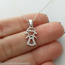 Daughter Necklace - 925 Sterling Silver - Girl Charm Family Granddaughter Child