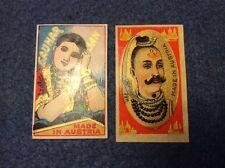 Matchbox Labels (2) - Austria - Lady with moustache, Indian theme, Gauhar Jan