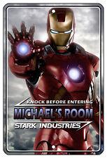 """8""""x12"""" METAL SIGN - Iron Man 1 Bedroom Door PERSONALIZE ADD NAME Room Superhero"""