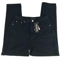 Boohoo Womens US Size 6 High Rise Mom Jeans 100% Cotton Black NWT