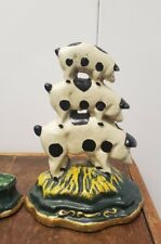 VINTAGE 3 BEARS AND 3 PIGS DOOR STOPS SMALL CAST IRON GREEN 10 CM TALL WEDGE