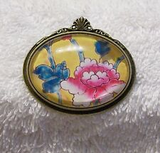 Blooming Flowers Glass Floral Garden Vl-Gt New Pin Brooch Oval Artistic Colorful