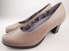 HOTTER Angelica Beige Speckled Leather Pumps Heels Shoes Women's Size 8