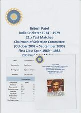 BRIJESH PATEL INDIAN CRICKETER 1974-1979 ORIGINAL HAND SIGNED MAGAZINE CUTTING