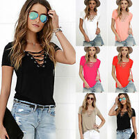Damen Sexy-V T-Shirt Kurzarm Schnürung Top Sommer Locker Blusen Oberteile Hemd