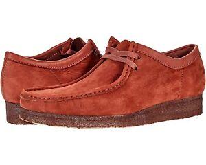 Men's Shoes Clarks Originals WALLABEE Lace Up Moccasins 62550 BURGUNDY NUBUCK