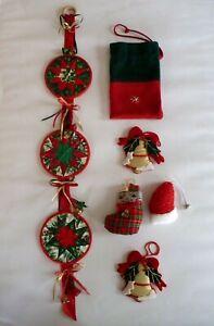 Christmas Door Wall Hanging Decorations - Patchwork Quilt Bell Hanger & extras