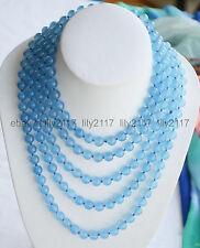 Beautiful Fashion 8mm Round Blue Jade Gemstone Beads Necklace Long 100''