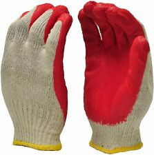 All Purpose Red Latex Coated Rubber Palm Coated Work Safety Gloves 10pk