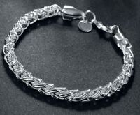 """925 Sterling Silver Bracelet Womens 7-1/2"""" Opulent Twist Rope Chain + GiftP D135"""
