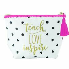 Mary Square White and Black Hearts Carryall Pouch Teach Love Inspire