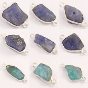 925 Silver Tanzanite & Apatite Rough Gems Connector Choose From Drop Down