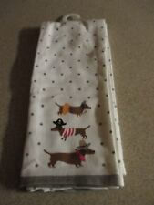 NWT Halloween Dachshund in Costumes-2 Kitchen Towels Pirate, Cowboy, Princess!