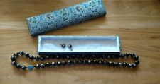 """Knotted Necklace & Earrings w/Silk Box 30"""" Vintage Cloisonne Enamel Chinese Bead"""