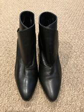Manolo Blahnik Diaz Black Leather Ankle Boots/Booties- Size 37/US 7
