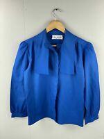 Lisa Josephs Women's Vintage Long Sleeve Shirt/Blouse - Size 8 - Blue