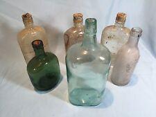 "Lot Of 6 Antique Bottles Aqua Green 10"" Whiskey Bottle Hand Blown Spout"
