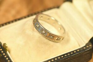 Vintage Gold on Silver Topaz Eternity Ring Infinity Ring Anniversary Size K1/2
