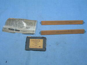 """Lot of 2 NOS Norton Triangular FINE India File Stones 4"""" X 7/16"""""""