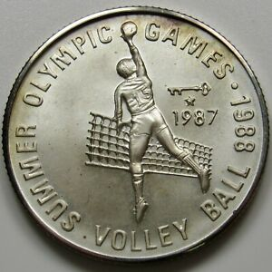 """1987 Afghanistan 500 Afghanis (KM-1010) """"1988 Summer Olympics - Volleyball"""""""