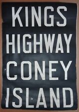 1940's Vintage New York City Subway R1 Front Destination Rollsign CONEY ISLAND