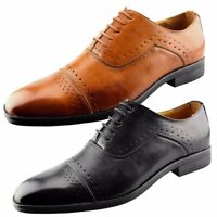 Mens Designer Smart Lace Up Casual Leather Brogues Wedding Dress Shoes Size
