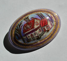 Vintage Signed Artisan Hand Painted Canadian House in forest porcelain brooch