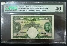 1941 Malaya Straits Settlements BOCOC 5 Dollars PMG 40