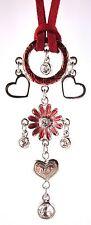 £40 Retro Silver Red Flower Heart Pendant Necklace Swarovski Elements Crystal