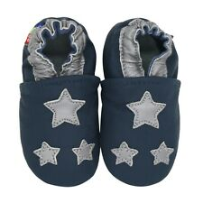 carozoo silver star dark blue 12-18m soft sole leather baby shoes