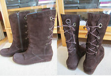 WOMEN HUSH PUPPIES LACE UP MID CALF LONG BOOTS SIZE 5 BROWN SUDED LEATHER WINTER