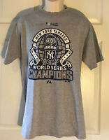 New York Yankees 2009 27 Time World Series Champions T Shirt Gray Sz Large