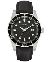 Bulova Men's Quartz Calendar Black Dial Black Leather Strap 43mm Watch 98B275