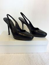 RUSSELL & BROMLEY BLACK LEATHER  SLINGBACK HEELS SIZE 3.5/36