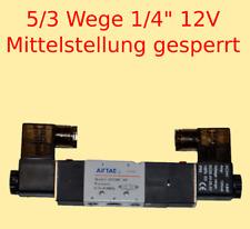 "Pneumatikventil 5/3 Wege 12 V 1/4"" 1,5-8 bar 5/3 Wegeventil Mitte gesperrt #532"