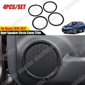 For Nissan Rogue 2014-2021 Carbon Fiber Style Car Door Speaker Circle Cover Trim