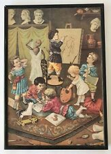 Wood Box 32 Watercolors 15 Colored Pencils Victorian-Style Picture of Children