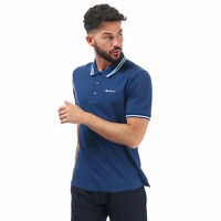Mens Ben Sherman Twin Tipped Polo Shirt In Blue- Short Sleeve- Ribbed Cuffs And