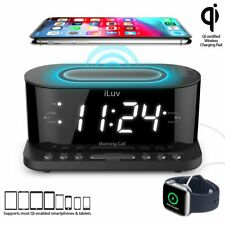 "iLuv 1.2"" Jumbo White LED Display Dual alarm Clock, Qi Certified Wireless Chargi"
