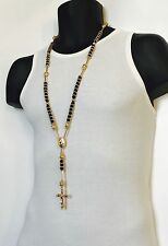 Shamballa Style Jesus Hip Hop Acrylic Beads Cross Rosary Necklace Black & Gold