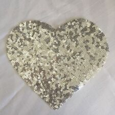 1x Sequin heart in Silver - millinery , clothing , hair and crafts Appliqué Trim