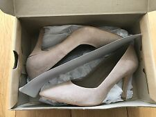 Genuine Classic  Leather Suede Nude Court Shoes